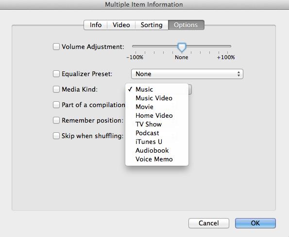 iTunes get info options